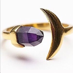 Jewelry - Moon and falling star amethyst ring